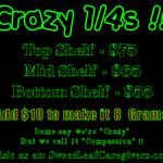 SWEET LEAF / CRAZY 1/4s & a BAKE SALE !!